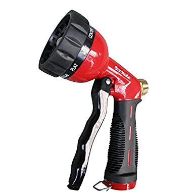 Garden Hose Nozzle / Hand Sprayer - Heavy Duty 10 Pattern Metal Watering Nozzle - High Pressure - Pistol Grip Front Trigger - Flow Control Setting Knob - Suitable for Car Wash, Cleaning, Watering Lawn and Garden - Ideal for Washing Dogs & Pets