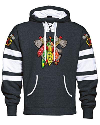Fear the Feathers Graphite/White Game Day Blackhawk Hockey Hoodie (XL)