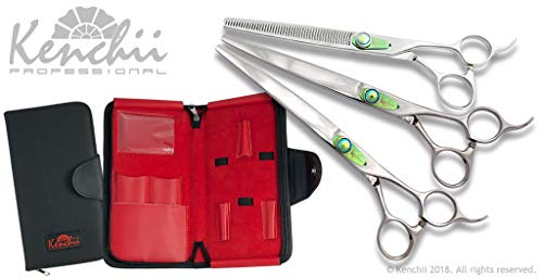 Kenchii T Series Professional Line of Dog Grooming Shears and Thinners (8.0', 3 Shear Set)