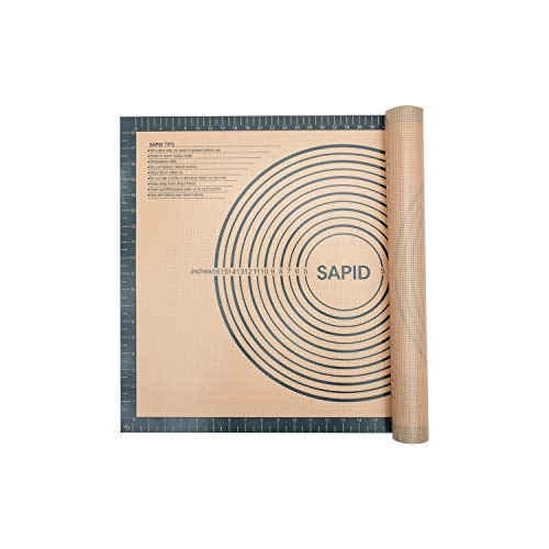 Sapid Extra Thick Silicone Pastry Mat Non-slip with Measurements for...