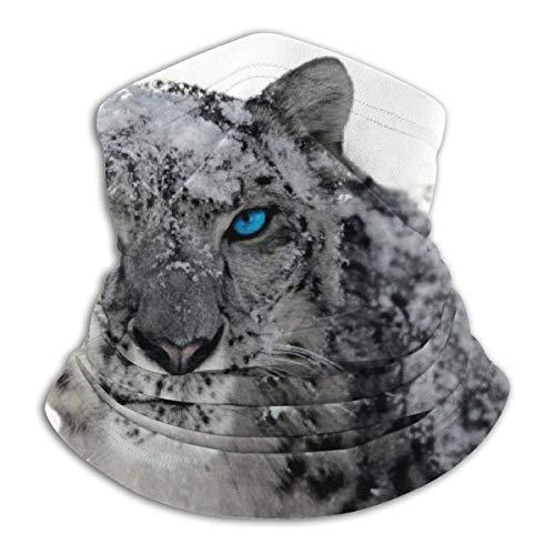 Snow Leopard Blue Eyes Neck Gaiter Warmer Windproof Face Shield Scarf Magic Balaclava Outdoor Sports