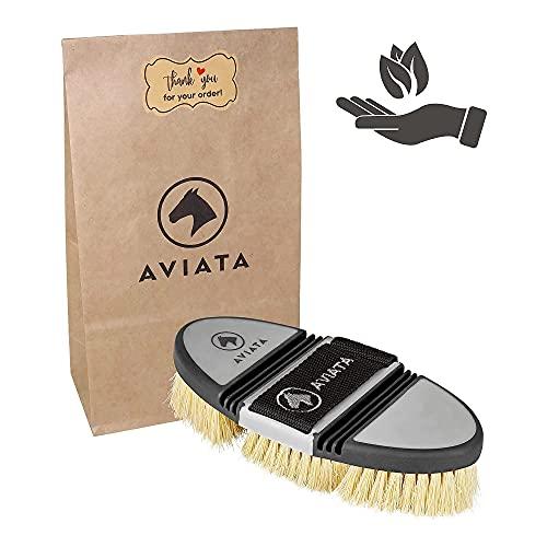 AVIATA ErgoFlex - Cepillo para raíces de caballo con cerdas naturales de fibra de palma para la limpieza y el cuidado