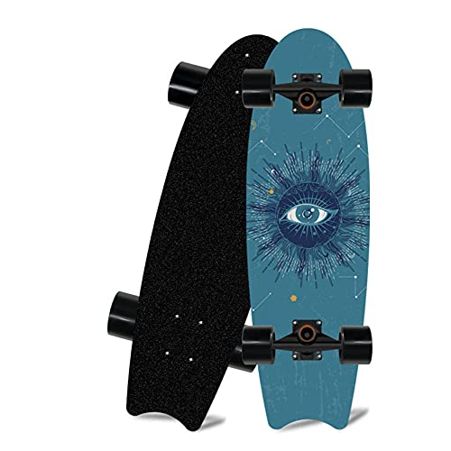 Skateboard de Surf, Mini Tablero de Peces de 28 * 8 Pulgadas, Adecuado para Adolescentes para Adultos en monopatín Crucero de Carretera-C_28 Pulgadas