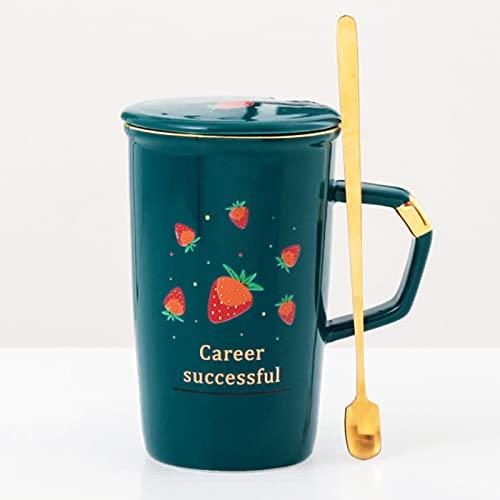 Creative Good Life - Taza de cerámica con diseño de frutas con cuchara con tapa para amantes de la oficina, hogar, taza de café B