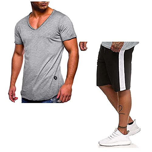 Chándal de 2 piezas para hombre, ropa deportiva de manga corta, suéter de verano, ropa de deporte, juego completo de chándal 8 beige L