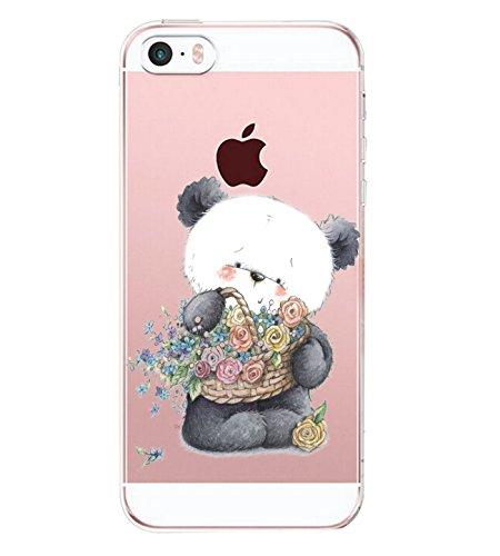 Alsoar Compatibile per iPhone SE iPhone 5 iPhone 5S Clear Custodia Moda Ultra Slim Simpatico Cactus Cane Panda Transparente Anti-Antiurto Silicone Cover TPU Gel Protettivo Skin Shell Case (Panda)