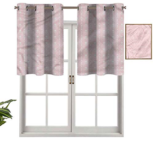 Hiiiman Grommet Top Blackout Curtain Valance Vintage Damask Home, Set of 2, 42'x36' Window Treatment for Living Room, Short Straight Drape Valance