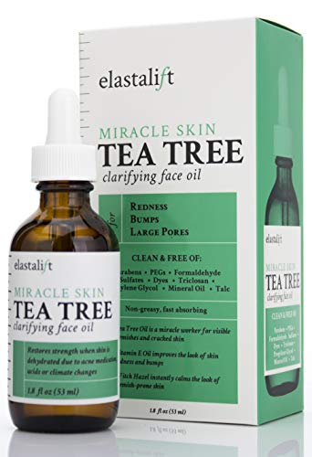 1.8 fl oz Elastalift Tea Tree Oil for face with Witch Hazel. Clarifying Tea Tree Face oil helps with Redness, Bumps, and Large Pores. (1.8oz)