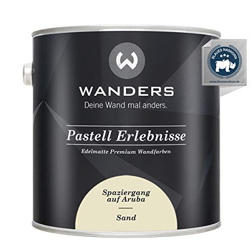 Wanders24® Pastell Erlebnisse (2,5 Liter, Sand) edelmatte Wandfarbe - Feine Farben - in 40 Farbtönen - Wandfarbe Grau - Made in Germany