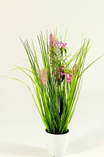 Liatris Floristik Grasbusch im Topf, Kunstgras, Dekogras, künstlicher Grasbüschel, Ziergras, Kunstpflanze naturgetreue Deko 34cm hoch