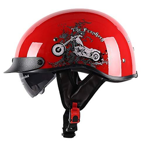 GJX- Hard Hat Halbschale Motorradhelm,Brain-Cap · Jet-Helm Offenes Motorrad-Helm Roller-Helm Scooter-Helm Mofa-Helm für Bobber Chopper Crash Cruiser Pilot Biker Racing mit Visier