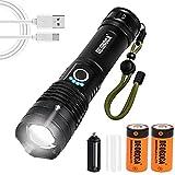 Linterna, lámpara recargable USB, 6000 lúmenes, lámpara de mano para acampar súper brillante con 5 modos de iluminación, linterna táctica impermeable de emergencia para senderismo al aire libre