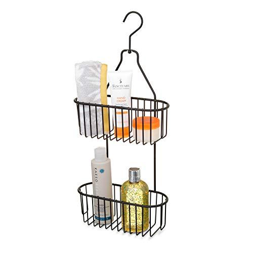 simplywire - Cesta de Ducha Colgante de 2 Niveles - Estante Organizador de baño - Resistente a la corrosión - sin Taladro
