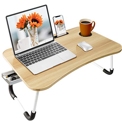 BOPUROY Tavolo Laptop, Tavolo per Notebook, Pieghevole Tavolo per Computer Portatile, Supporto PC Portatile con Gambe Pieghevoli per Divano, con Fessura per Tazza, per Lletto/Divano/Pavimento