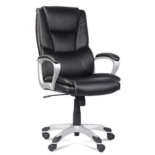 LENTIA Chefsessel Bürostuhl Office Stuhl ergonomischer Drehstuhl Computerstuhl Schreibtischstuhl mit Einstellbarem Neigungswinkel verdickte Polsterung Schwarz (Schwarz2)