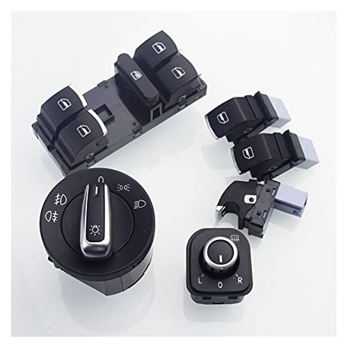 QAZWSXED LESANGBAIHUODIAN Interruptor de Faros Europeo de Cromo se Ajusta a VW Golf GTI MK5 MK6 Jetta 5 6 Passat B6 Touran Tiguan Seat Alhambra OEM 5ND 941 431 A (Color : White)
