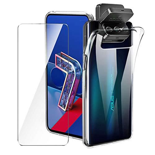 Brands LJSM Hülle für Asus Zenfone 7 Pro ZS671KS + Panzerglas Bildschirmschutzfolie Schutzfolie - Transparent Weich Silikon Schutzhülle Flexibel TPU Tasche Hülle für Asus Zenfone 7 Pro ZS671KS (6.67