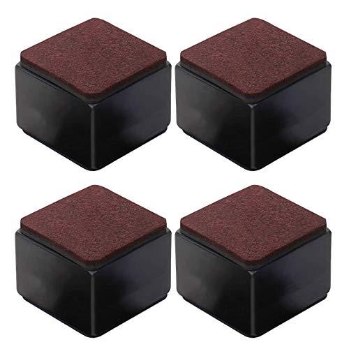 Honeyhouse Elevadores de muebles de acero al carbono, 4 unidades, autoadhesivos para muebles, 32/52/102 mm de altura a camas, sofás y armarios, color negro cuadrado