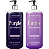 MAJESTIC PURE Purple Shampoo and Conditioner Set - Lightens Blonde, Platinum, Ash, Bleached, Brunette, Highlights, Gray and Silver Hair - Eliminates Brassy Yellow Tones - Blonde Shampoo For Color Treated Hair - Sulfate Free & Paraben Free, 16 fl oz each