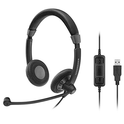Sennheiser SC 70 USB MS (506502) - Double-Sided Business Headset   For Skype for Business   with HD Sound, Noise-Cancelling Microphone, & USB Connector (Black)