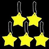 Sayletre Portachiavi Riflettore di sicurezza per bambini, a forma di stella, ultra riflettente, per abbigliamento, borse, zaini, passeggini, Giallo