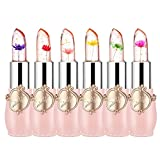 Pack of 6 Crystal Flower Jelly Lipstick, FirstFly Long Lasting Nutritious Lip Balm Lips Moisturizer Magic Temperature Color Change Lip Gloss (Pink)