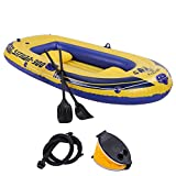 NoxwB Kayak Upgrade 3 People 8FT Hhickened Inflatable Boat Swimming Surfing Inflatable Dinghy Boat Yacht Tender Fishing Raft (Yellow, 8 '× 4' × 1.3 ')