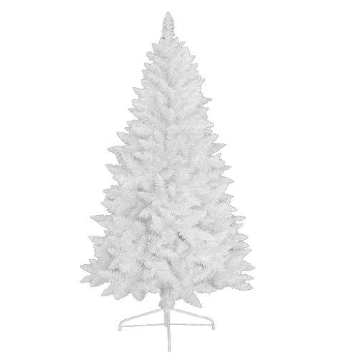 RS Trade 1015 Weihnachtsbaum künstlich Weiß 180 cm (Ø ca. 87 cm) mit 602 Spitzen, schwer entflammbarer Tannenbaum mit Schnellaufbau Klappsystem, inkl. Christbaum Ständer aus Metall