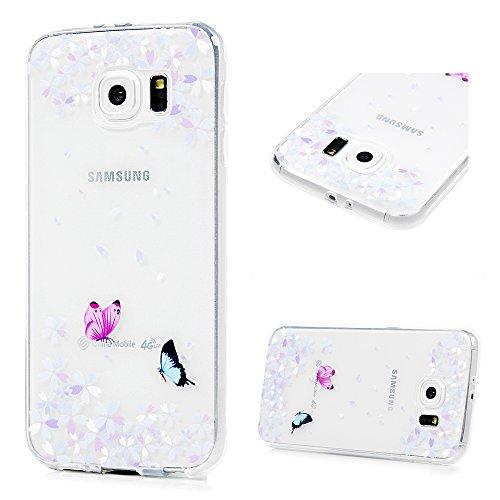 KASOS Coque Samsung Galaxy S6, Coque Housse Case Bumper Étui Coque de Protection en TPU Souple Solide de Couleur Silicone Ultra Hybrid Ultra Mince Léger Modèle Dessin Housse pour Samsung Galaxy S6-Plume