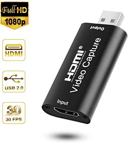 MOSOY - Tarjetas de captura de audio y vídeo HDMI, tarjeta de captura de vídeo HDMI a USB 2.0 grabación a través de cámara DSLR viene con adaptador convertidor USB a tipo C