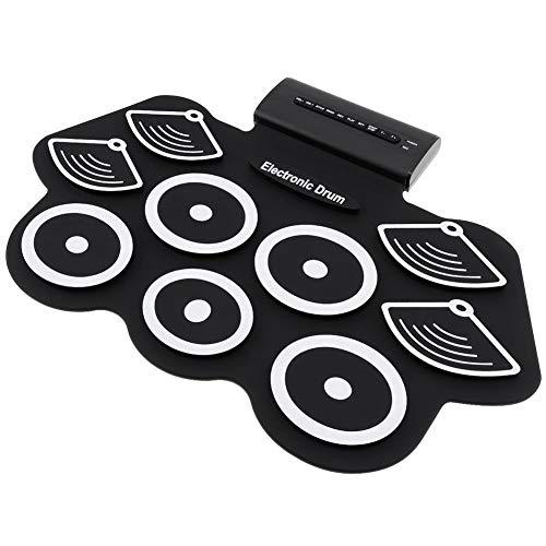Edge to Set bateria electronica, Roll-Up Portable Drum Pad practica, 9 cojin del Juego bateria Digital, Altavoces estereo duales incorporados, Tambores electricos para Ninos Gran Regalo Navidad