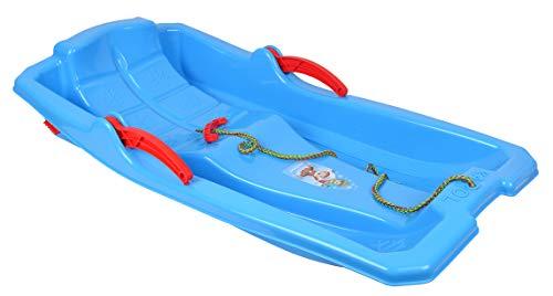 Trineo Bob con palancas de freno, cuerda de tracción, para niños, nieve, invierno, azul