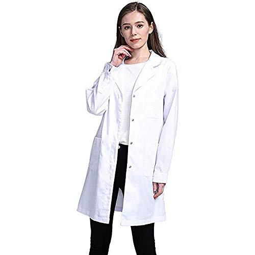 YBIRAL Weiß Labor Kittel Mantel, Laborkittel, Arztkittel, Arztkittel für Frauen, Weißer Mantel für Damen, Geeignet für Studenten, Wissenschaftslabor, Krankenschwester, Cosplay, Baumwollkittel