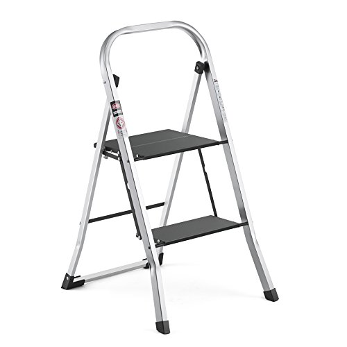 Delxo Lightweight Aluminum 2 Step Ladder Step Stool Single-Hand Carry Ladder with Handgrip Anti-Slip Sturdy and Wide Pedal Multi-Use for Household and Office Portable Step Stool 330lbs