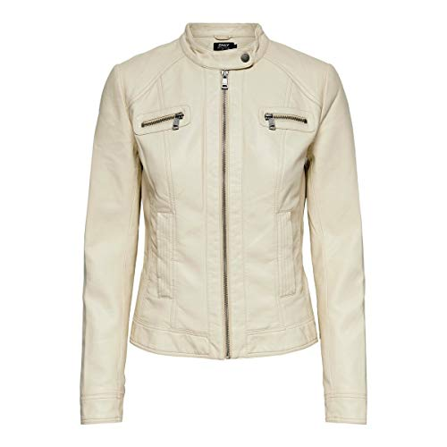 Only ONLBANDIT Faux Leather Biker Otw Noos Giacca in Ecopelle, Pumice Stone, 40 Donna