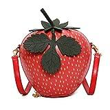 Fruit Apple Pineapple Strawberry Watermelon Shape Women PU Leather Clutch Purse Cross Body Bag (Strawberry)