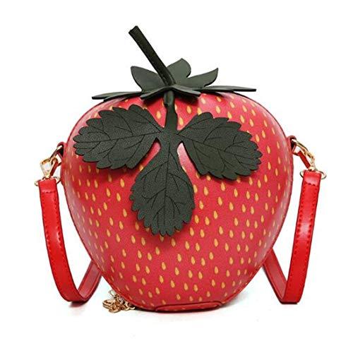 Damen-Clutch, aus PU-Leder, Motiv: Obst, Apfel, Ananas, Erdbeere, Wassermelone