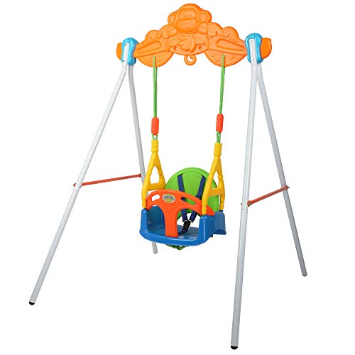 COLOR TREE Toddler Swing Heavy-Duty Indoor/Outdoor Baby Swing Set with Safety Harness Kids Backyard Playground Toys Swing Seat with Stand