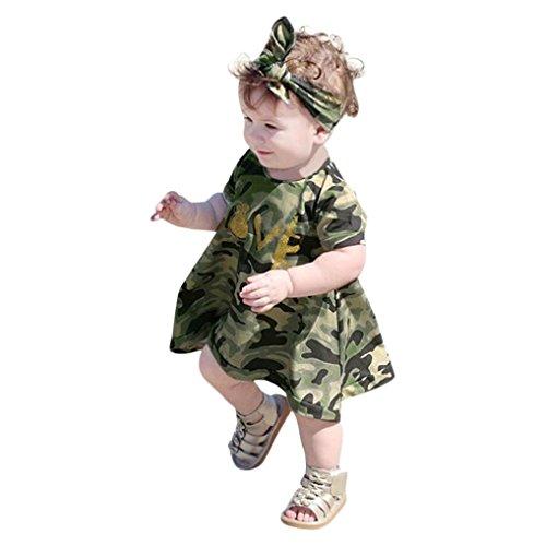 Longra jurk, voor kinderen, baby, meisjes, ronde hals, korte mouwen, camouflage, jurk, Bubble Rock Set, bedrukt, korte broeken, schattige strik, kant, met hoofdband en kleding