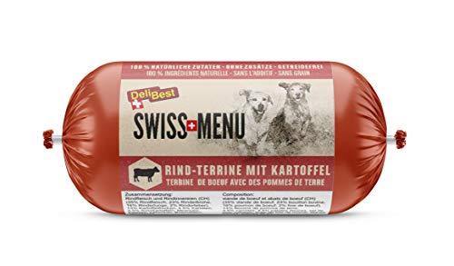 DeliBest SWISS MENU Rind-Terrine mit Kartoffeln I Nassfutter für Hunde aus 100% Schweizer Rindfleisch I getreidefrei & ohne Zusätze I glutenfreies hochwertiges Hundefutter Adult I 200 g Hundewurst