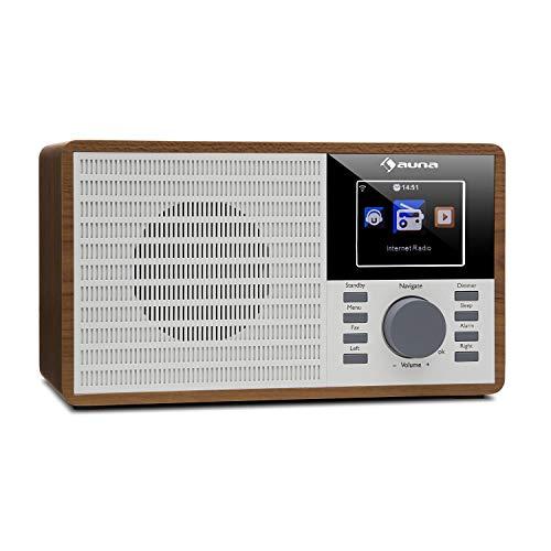 "AUNA IR-160 - Internet Radio, Radio Digitale, Radiosveglia, WLAN, MP3/WMA, USB, AUX, Musica in Streaming Tramite UPnP, Display a Colori da 2,8"" TFT, Marrone"