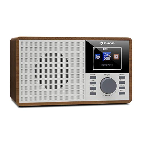 AUNA IR-160 - Internet Radio, Radio Digitale, Radiosveglia, WLAN, MP3/WMA, USB, AUX, Musica in Streaming Tramite UPnP, Display a Colori da 2,8' TFT, Marrone