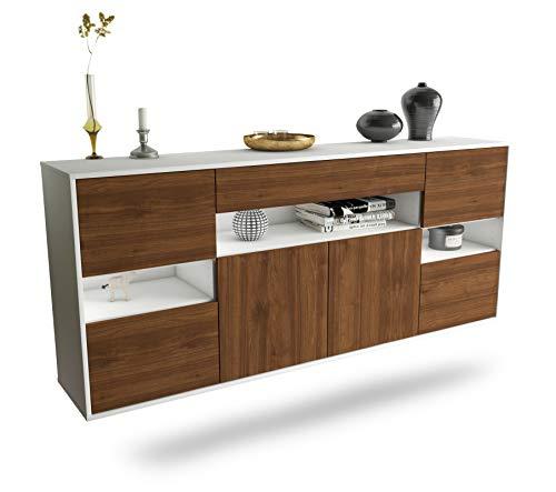 Sideboard Downey hängend (180x77x35cm) Korpus Weiss matt | Front Holz-Design Walnuss | Push-to-Open | Leichtlaufschienen