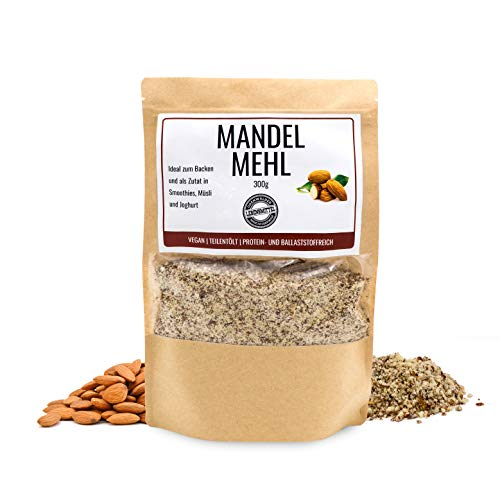 Odenwälder Lebensmittel - 300g premium Mandelmehl Made in Germany - fein gemahlene Mandeln Vegan und teilentölt mit viel Protein