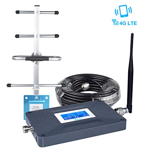 Cell Phone Signal Booster AT&T T-Mobile Cell Signal Booster Home 4G LTE 700mhz Band 12/17 Cell Phone Booster ATT Cricket Signal Booster Cell Signal Amplifier LCD Screen Antenna Kit for Home/Office