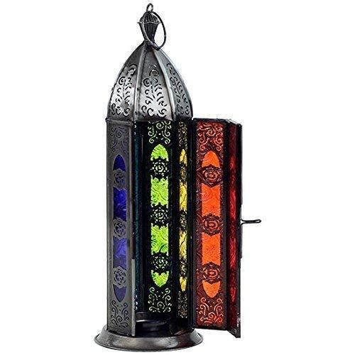 30cm SIETE CHAKRAS Oriental Farol portavelas de pie o colgante vidrio de color y hierro