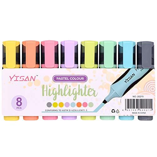 YISAN Textmarker, Keilspitze, auf Wasserbasis, schnell trocknend, 8 verschiedene Pastellfarben 20215
