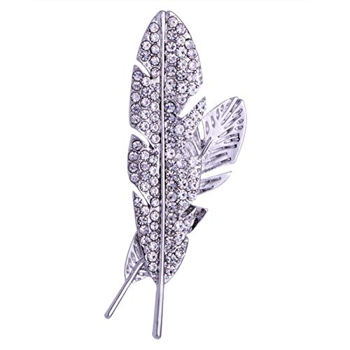 WanXingY Elegant Temperament Men's Full Rhinestone Hollow Feather Brooch Jewelry Luxury Accessories Classic Brooch Set Lapel Pin (Color : SILVER)