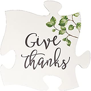 P. Graham Dunn Give Thanks Greenery White 12 x 12 Wood Puzzle Piece Wall Sign Plaque