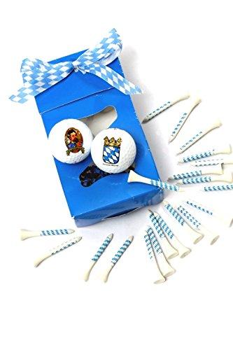 Bavariashop Golfball Set, 2 Bälle mit Bayern Motiven, 20 Tees in den Farben Weiß und Blau
